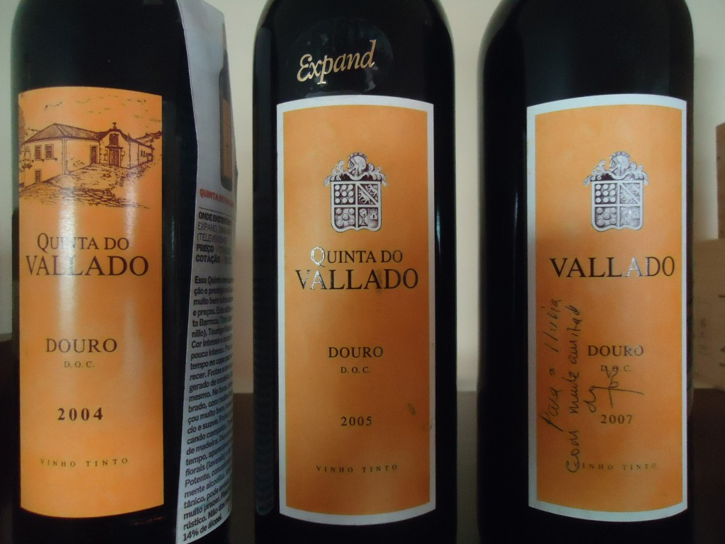 Vertical de Quinta do Vallado DOC Douro safras 2004, 2005 e 2007