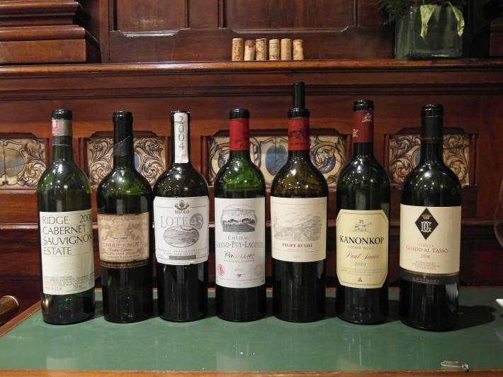 Da esquerda para direita os vinhos na ordem de colocação