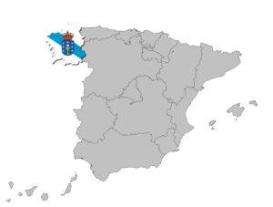 Galicien auf den Umrissen Spanien's